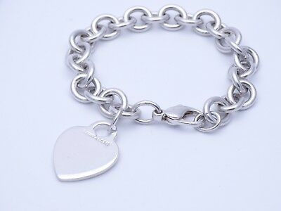 Tiffany & Co Sterling Silver Heart Bracelet - 7 Inches solid heavy unique htf!!!