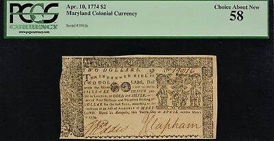 Maryland Colonial Currency 1774 $2 PCGS CAN 58