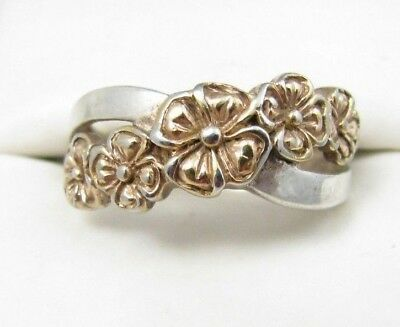 Vintage Sterling Silver C^A Canada 2 Tone Flower Floral Crossover Band Ring Sz 9