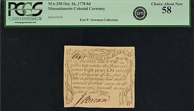 Massachusetts Colonial Currency Oct. 16, 1778 MA-258 8d PCGS CAN 58 - Ex Newman