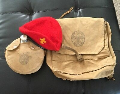 Vintage Boyscout Lg Red 100% Wool Beret, Canteen & Day Hike Bag No. 1225 Lot