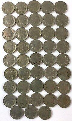 Buffalo Nickel Lot Roll 40 +3extra Mixed Date 1930's Some Unreadable