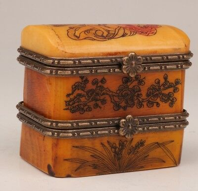 Japanese style double cattle bone jewelry box old hand-painted man woman love