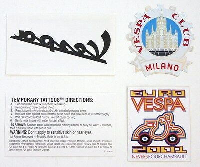 Set of 2 original VESPA scooter stickers & tattoo X 2 Euro Club Milano cog badge