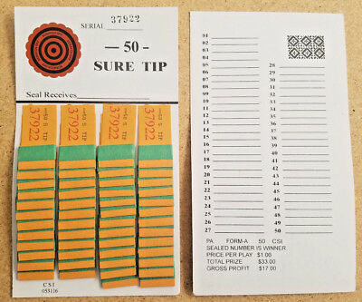 1 Dozen 50# SURE (ALL) TIP's BOARD (#1-50) Bingo Pull Tab Jar Tickets~USPS $1.49