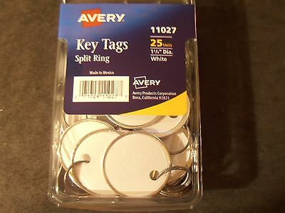 "Avery 11027 key tags split ring 1 1/4"" diameter white pack of 25 tags"