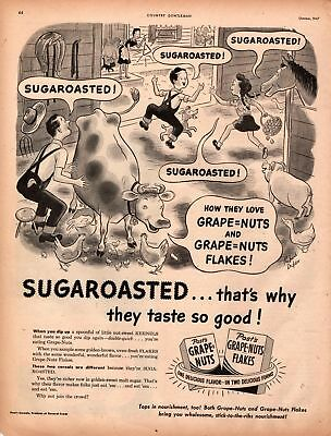 1947 Country Gentleman Magazine Advertisement Post Grape Nuts 1 Page A430
