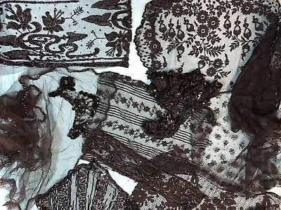 Antique Black Beaded Net and Lace Lot  Embroidered   Craft Dolls Bears