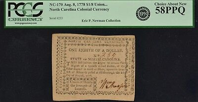 North Carolina Colonial Currency Aug. 8, 1778 NC-170 $1/8 PCGS CAN58 PPQ