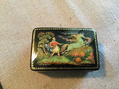 Russian Lacquer Box - Signed & Dated Piece, extremely finely crafted