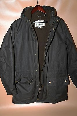#136  Barbour Winter Durham Waxed Hooded Jacket Size XL
