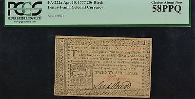 Pennsylvania Colonial Currency Apr. 10, 1777 PA-222a 20s Black PCGS CAN58 PPQ