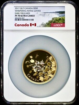 2017 Canada Gilt Silver $50 3 Oz Whispering Maple Leaves NGC PF70 Early Releases