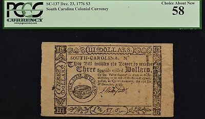 South Carolina Colonial Currency Dec. 23, 1776 SC-137 $3 PCGS CAN 58