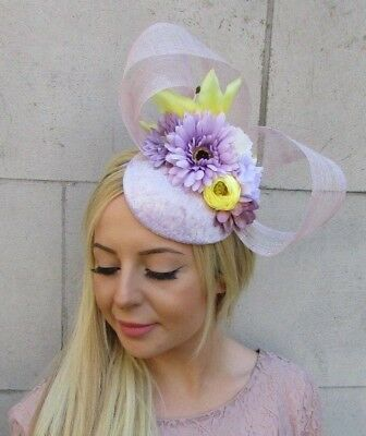 Lilac Lavender Light Purple Yellow Flower Hat Hair Fascinator Races Wedding 5981