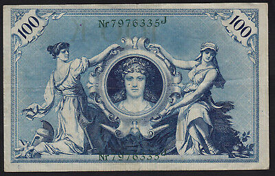 1908 100 Mark VF Germany Vintage Paper Money Banknote Currency Rare Antique Note