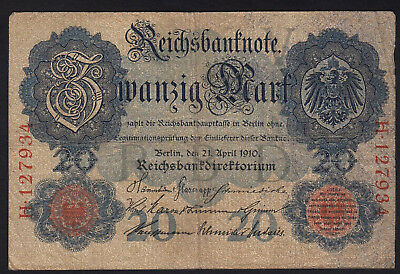 1910 20 Mark Germany vintage paper money banknote currency rare antique foreign