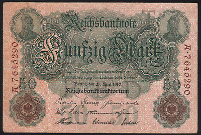 1910 50 Mark Germany VF vintage paper money banknote currency rare antique Bill