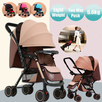 Reverse Lightweight Fold Baby Stroller Prams Pushchair Travel Carry On Buggy