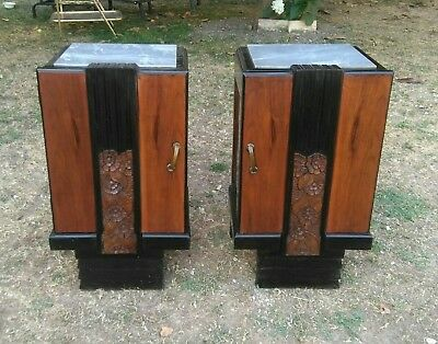 Antique French Pair Art Deco Burl Walnut Carved flowers Nightstands Bedside 1930
