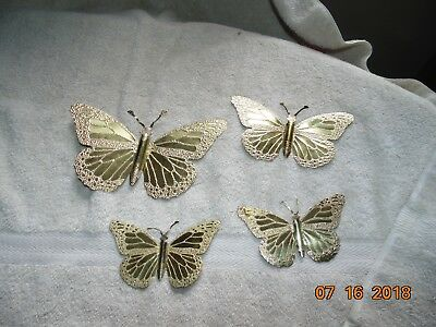 4 VINTAGE HOMCO HOME INTERIORS Gold METAL  BUTTERFLIES lot  wall art Partylite