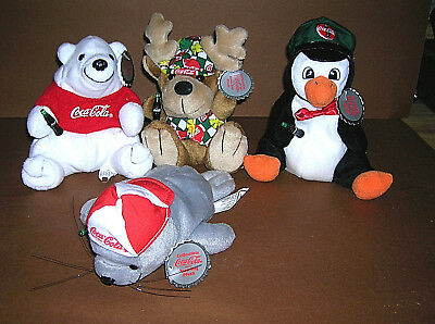 Lot of 4 Coca Cola Coke Bean Bag Plush With Tags  Bear Penguin Reindeer Seal