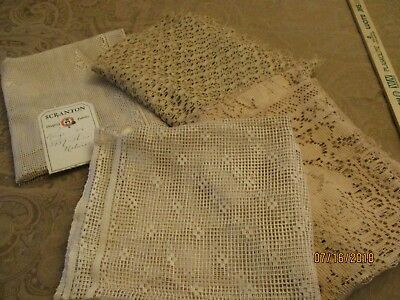 lot of 4 Antique Remnants of CURTAIN PANEL LACE old ecru