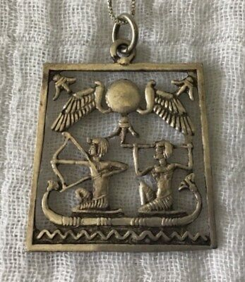 Vintage .925 Sterling Silver Egyptian Revival Gods in the Sun Boat Large Pendant