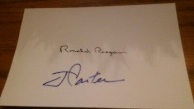 President Ronald Reagan and Jimmy Carter Signed Index Card!