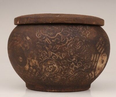 Valuable qianlong period seal old jade pharmaceutical POT carved eight diagrams
