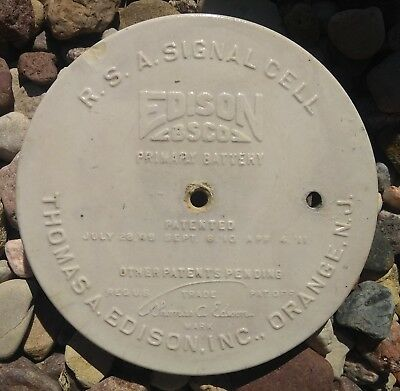 R.S.A.Signal Cell battery ceramic lid. Thomas Edison BSCO Primary Battery 1908
