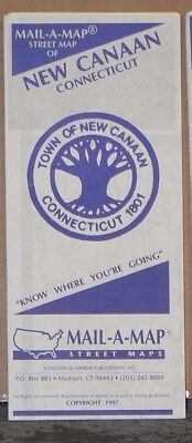 1997 Mail-A-Map Street City Map New Canaan Connecticut with Local Ads