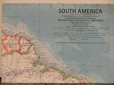 Vintage 1960 National Geographic Map of South America