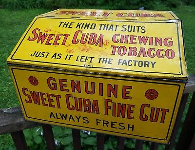 Large Vintage c.1900 Sweet Cuba Chewing Tobacco Metal Tin Can Gas Oil Sign
