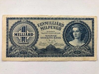 Hungary 1946 1 Billion Milpengo Currency Inflation Note Quadrillion Pengo LOT 78