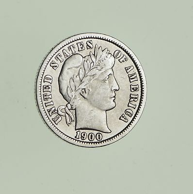 10c - Choice - 1900 - Barber Dime - Look at the Detail! *725