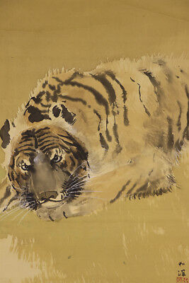 """JAPANESE HANGING SCROLL ART Painting """"Tiger"""" Asian antique  #E2995"""