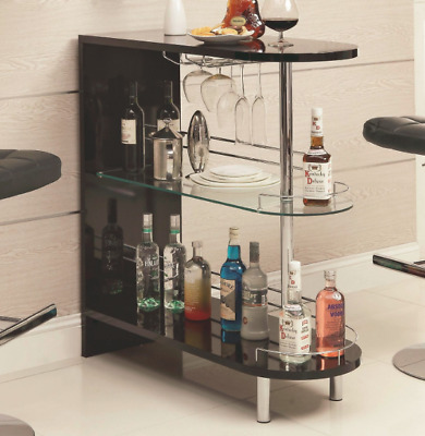 Home Bar Table Open Cabinet Shelves Wine Storage Holder Liquor Stemware Rack