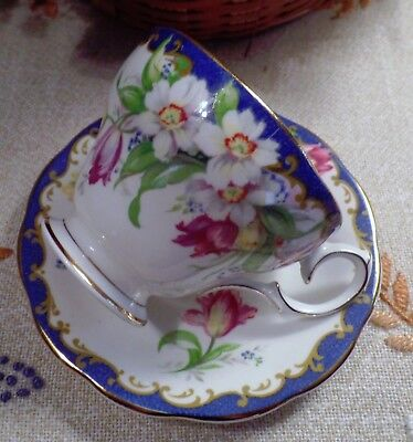 """Bell Fine Bone China Made In England  """"narcissus"""" Blue  Pattern Teacup & Saucer"""