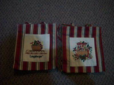 2 Longaberger Christmas fabric tote bags