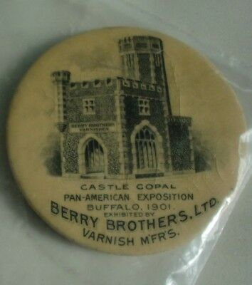 BERRY BROTHERS Varnish 1901 PAN-AMERICAN EXPO Castle Copal Pocket mirror