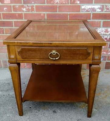 Vintage MCM Wood End Table Hard Rock Maple 2 Tier Faux Wormwood  2 AVAIL
