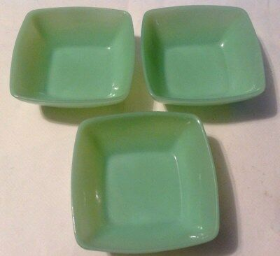 "Set Of 3 Fire King Jadeite Square Charm 4 3/4"" Dessert Fruit Berry Cereal Bowls"