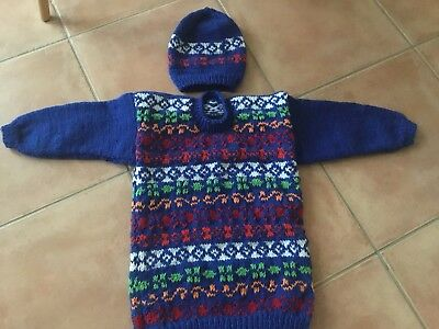 Boys Hand Knit Jumper Size 5-6 Years Blue With Colourful Design Matching Beanie