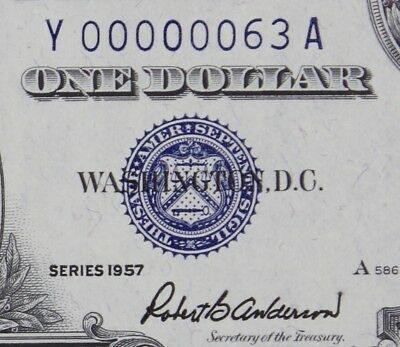 LOW 2 Digit Serial, $1 1957 Gem UNC Silver Certificate Y00000063A, FREE SHIP.