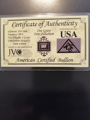 One (1) Grain .999 Fine Pallidium Bar with COA