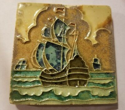 "Antique Delft Porceleyne de Fles Galleon Tile 4"" 1920's"