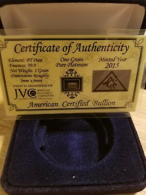 One (1) Grain .999 Fine Platinum Bar with COA