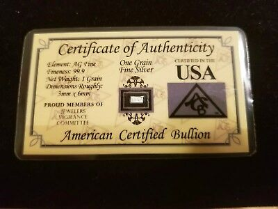One (1) Grain .999 Fine Silver Bar with COA