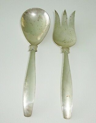 Pair Vtg Mexican Handmade Sterling Silver Salad Fork & Spoon by Zacho (Cal)